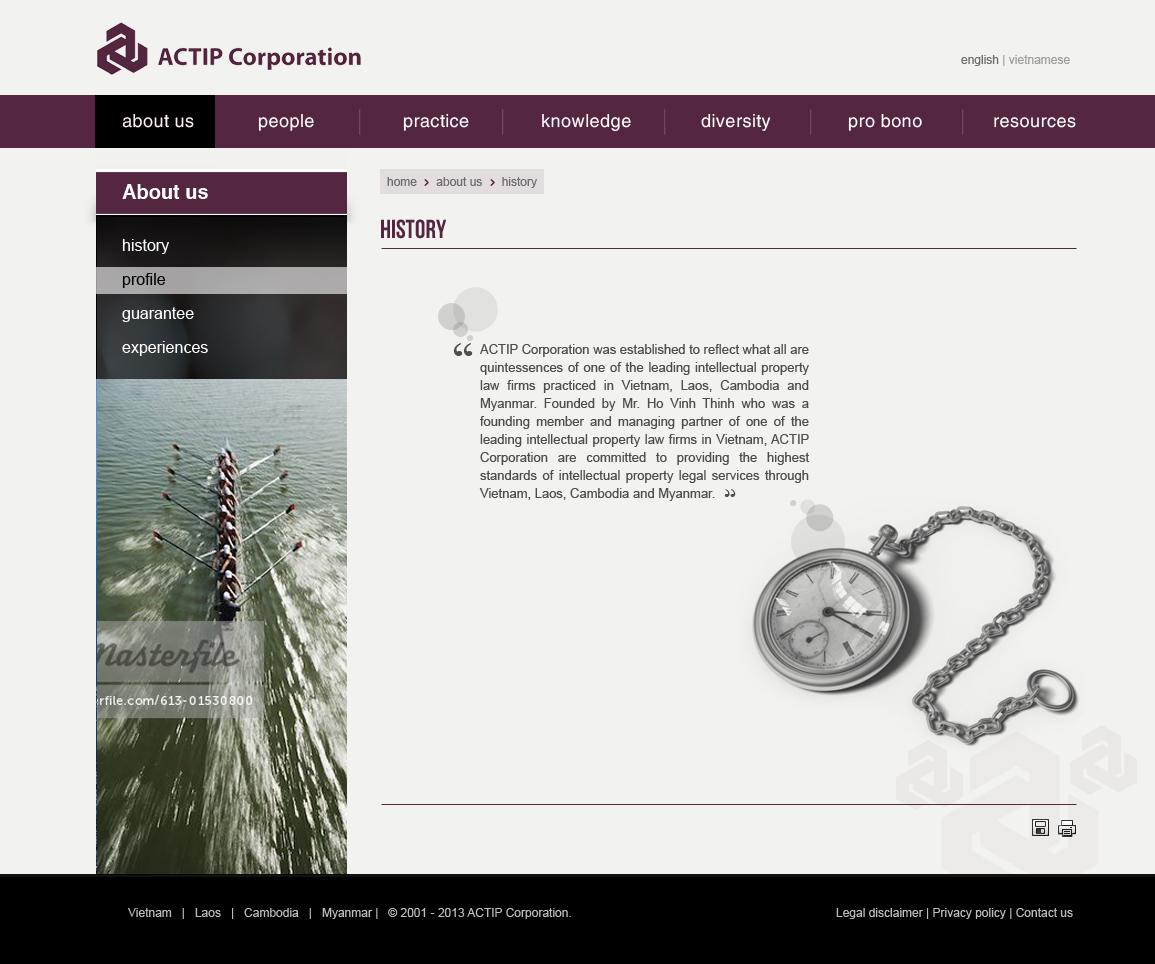 Website giới thiệu hãng luật Actip