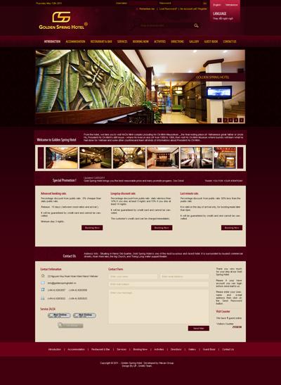 Thiết kế website giới thiệu khách sạn Golden Spring đẹp
