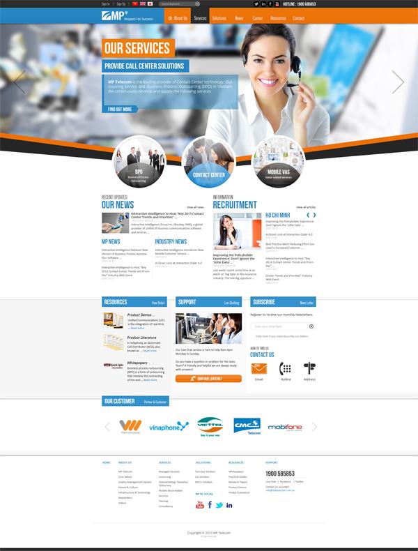 Thiết kế website công ty MP Telecom